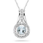 0.33 Cts Diamond & 0.85 Ct Aquamarine Pendant in 14K White Gold