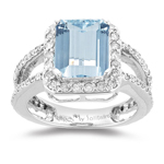 Aquamarine Ring - 3/4 Ct Diamond & Aquamarine Ring in 14K Gold