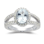 2.25 Cts Diamond & 9x7 mm AA Oval Aquamarine Ring in 14K White Gold