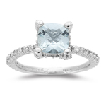 0.48 Cts Diamond & 1.31 Cts Aquamarine Ring in 14K White Gold