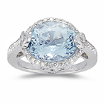 Aquamarine Ring - 0.44 Ct Diamond & Aquamarine Ring in 14K Gold