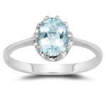 1.10 Cts of 8x6 mm AA Oval Aquamarine Solitaire Ring in 14K White Gold