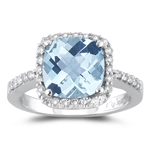 3.10 Cts Diamond & AA Cush Check Aquamarine Ring in 14K White Gold
