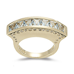 0.40 Cts Diamond & 1.74 Cts Aquamarine Designer Ring in 14K Yellow Gold