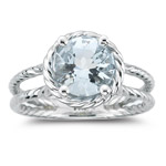 1.54 Cts of 8 mm AA Round Aquamarine Ring in 14K White Gold