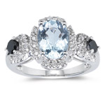 1/2 Ct Diamond & 1.54 Cts AA Aquamarine Ring in 14K White Gold