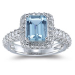 1.10 Cts Diamond & 1.40 Cts AAA Aquamarine Ring in 14K White Gold