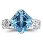 0.04 Cts Diamond & 4.90 Cts AAA Aquamarine Ring in 14K White Gold