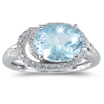 1/4 Cts Diamond & 2.44 Cts AA Aquamarine Ring in 14K White Gold