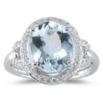 0.21 Ct Diamond & 3.21 Cts AA Aquamarine Ring in 14K White Gold