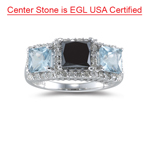 1.83 Ct Black & White Diamond, 1.30 Ct AA Aquamarine Ring- 14K White Gold
