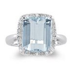 1/4 Ct Diamond & 5.00 Cts AA Aquamarine Ring in 14K White Gold