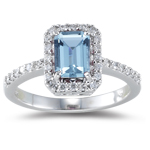 1.05 Cts Diamond & AA Emerald-Cut Aquamarine Ring in 18K White Gold