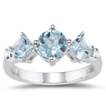 1.23 Cts Aquamarine Three-Stone Ring in 14K White Gold