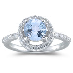 0.42 Cts Diamond & 1.10 Cts AA Aquamarine Ring in 14K White Gold