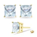 3.5 mm Princess Cut Aquamarine Stud Earrings in 14K Yellow Gold