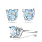 5 mm Heart Shape Aquamarine Stud Earrings in 14K White Gold