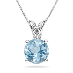 0.69-0.95 Cts of 6 mm AA Round Aquamarine Solitaire Scroll Pendant in 14K White Gold