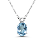 0.52-0.78 Cts of 7x5 mm AAA Oval Aquamarine Solitaire Pendant in 18K White Gold