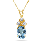 0.06 Cts Diamond & 0.54-0.80 Cts of 7x5 mm AAA Oval Aquamarine  Pendant in 14K Yellow Gold