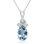 0.06 Cts Diamond & 0.54-0.80 Cts of 7x5 mm AAA Oval Aquamarine  Pendant in 18K White Gold