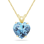 0.60 Cts of 6 mm AAA Heart Aquamarine Solitaire Pendant in 18K Yellow Gold