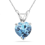 1.30 Cts of 8 mm AAA Heart Aquamarine Solitaire Pendant in 18K White Gold