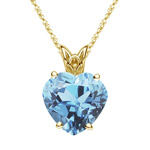 0.60 Cts of 6 mm AAA Heart Aquamarine Solitaire Scroll Pendant in 18K Yellow Gold