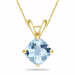 1.50 Cts of 7 mm AAA Cushion D/C Aquamarine Solitaire Pendant in 14K Yellow Gold