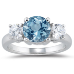 0.20 Cts Diamond & 0.75 Cts Aquamarine Three Stone Ring in Platinum