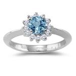 0.42 Cts Diamond & 2.50 Cts Aquamarine Ring in Platinum