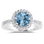 0.24 Cts Diamond & 2.50 Cts Aquamarine Ring in Platinum