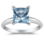 0.30 Cts Aquamarine Solitaire Ring in 14K White Gold