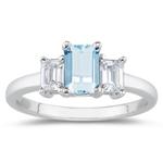 0.33 Cts Diamond & 2.00 Cts Aquamarine Three Stone Ring in Platinum