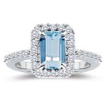 0.45 Cts Diamond & 3.00 Cts Aquamarine Ring in Platinum