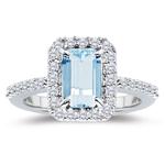 0.42 Cts Diamond & 2.00 Cts Aquamarine Ring in Platinum