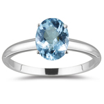 6.75 Cts Aquamarine Solitaire Ring in 18K White Gold