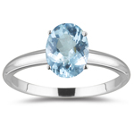 0.75 Cts Aquamarine Solitaire Ring in 18K White Gold