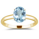 0.75 Cts Aquamarine Solitaire Ring in 18K Yellow Gold