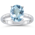 0.75 Cts Aquamarine Solitaire Ring in 14K White Gold