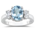 0.90 Cts Diamond & 3.00 Cts Aquamarine Ring in Platinum