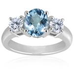 0.10 Cts Diamond & 4.50 Cts Aquamarine Classic Three Stone Ring in Platinum