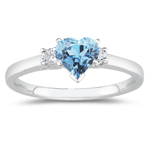 0.10 Cts Diamond & 3.00 Cts Aquamarine Classic Three Stone Ring in 18K White Gold