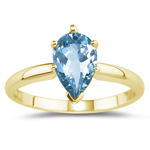 0.60 Cts Aquamarine Solitaire Ring in 14K Yellow Gold