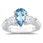 0.20 Cts Diamond & 0.60 Cts Aquamarine Three Stone Ring in 14K White Gold