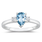 0.10 Cts Diamond & 4.00 Cts Aquamarine Classic Three Stone Ring in 14K White Gold