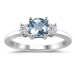 0.10 Cts Diamond & 2.45 Cts Aquamarine Classic Three Stone Ring in 18K White Gold