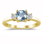 0.10 Cts Diamond & 3.40 Cts Aquamarine Classic Three Stone Ring in 18K Yellow Gold