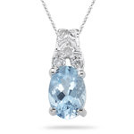 0.02 Cts Diamond & 0.52-0.78 Cts Aquamarine Pendant in 14K White Gold