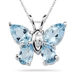0.03 Ct Diamond & 1.71 Cts Aquamarine Pendant in 14K White Gold